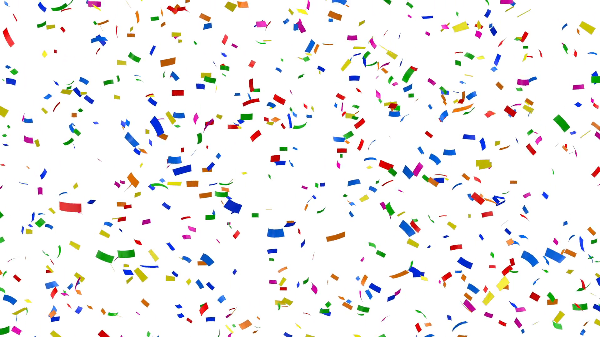 Falling Colorful Confetti on white background. HQ Seamless Looping  Animation with Alpha Channel Motion Background.