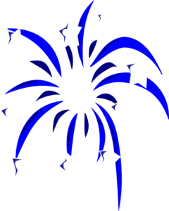Blue Fireworks Clipart.