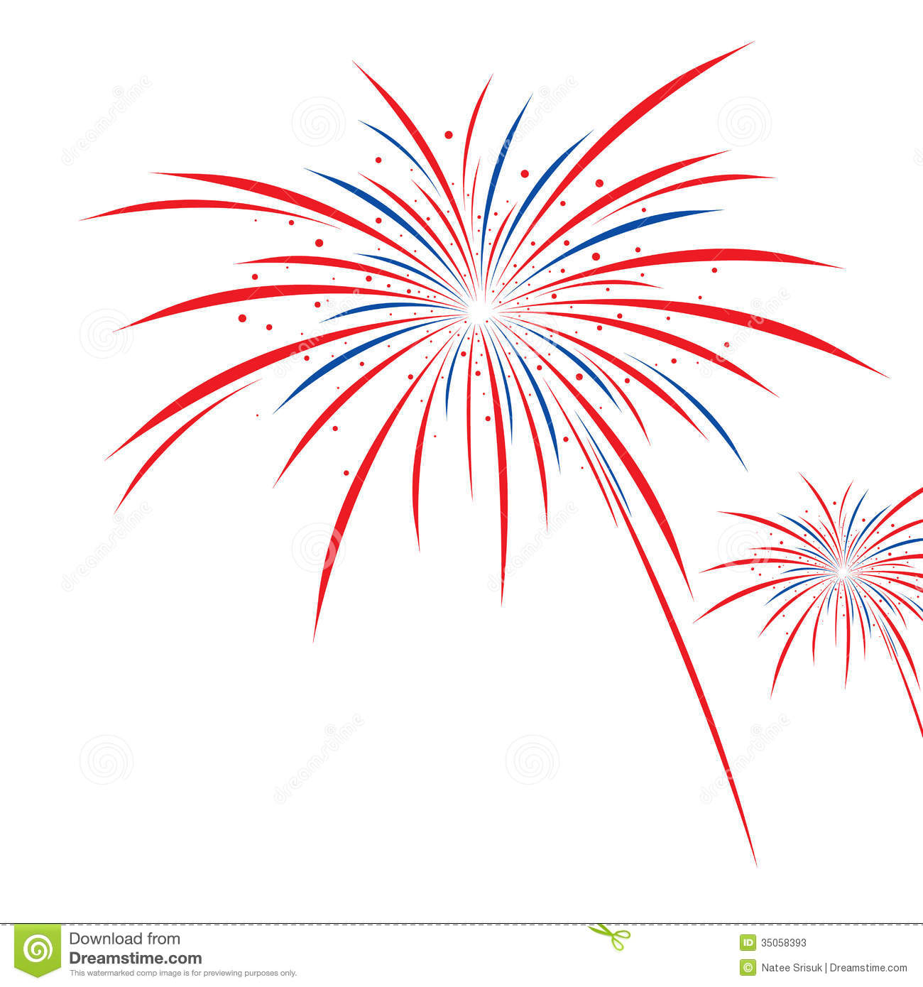 red white and blue firework clipart #1