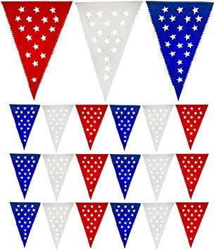 Muunek Patriotic Pennant Banner 4th of July Decoration 18 red White Blue  Star Flags 23 ft. Long.