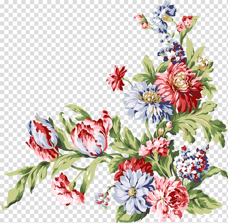 Red, white, and blue flowers art, Paper Flower Vintage.