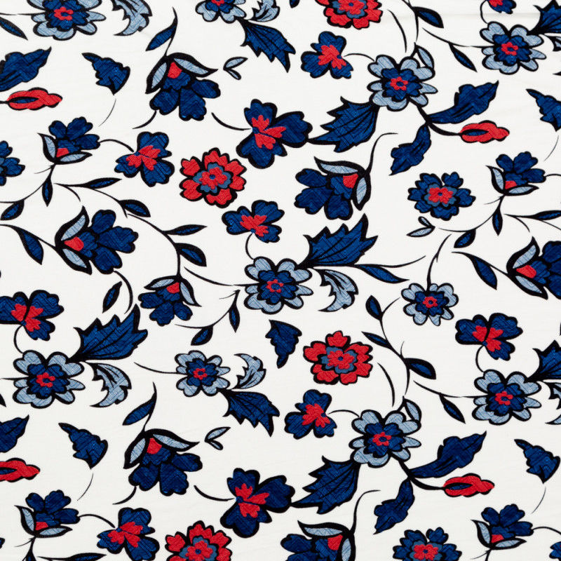 Red, White and Blue Floral Printed Rayon Jersey.