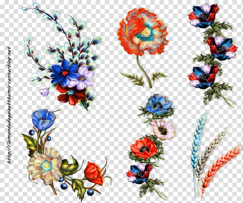 Floral design Blue Red White Flower, flower transparent.