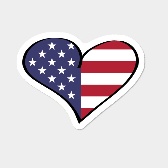 Patriotic Heart USA Flag Stars Stripes Red White Blue Sticker By  KateLCardsNMore Design By Humans.