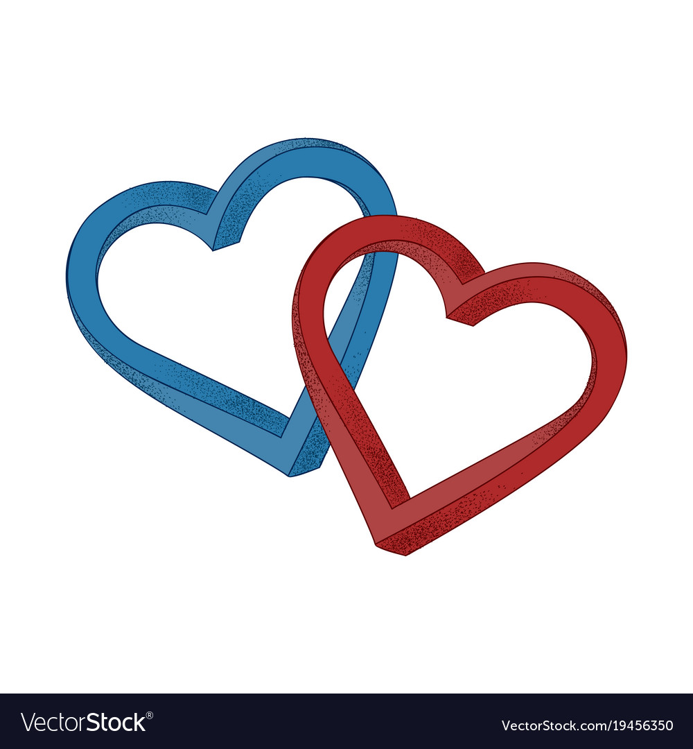 Two hearts blue and red on white background.