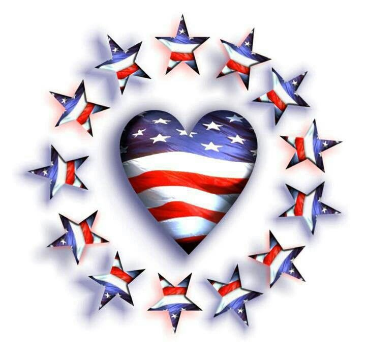 Red, White And Blue Heart And Stars.