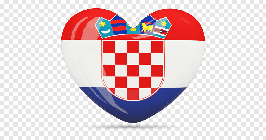 Red, white, and blue flag and heart logo, Flag of Croatia.