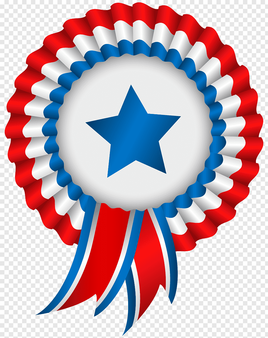 Red, white, and blue star print ribbon illustration, United.