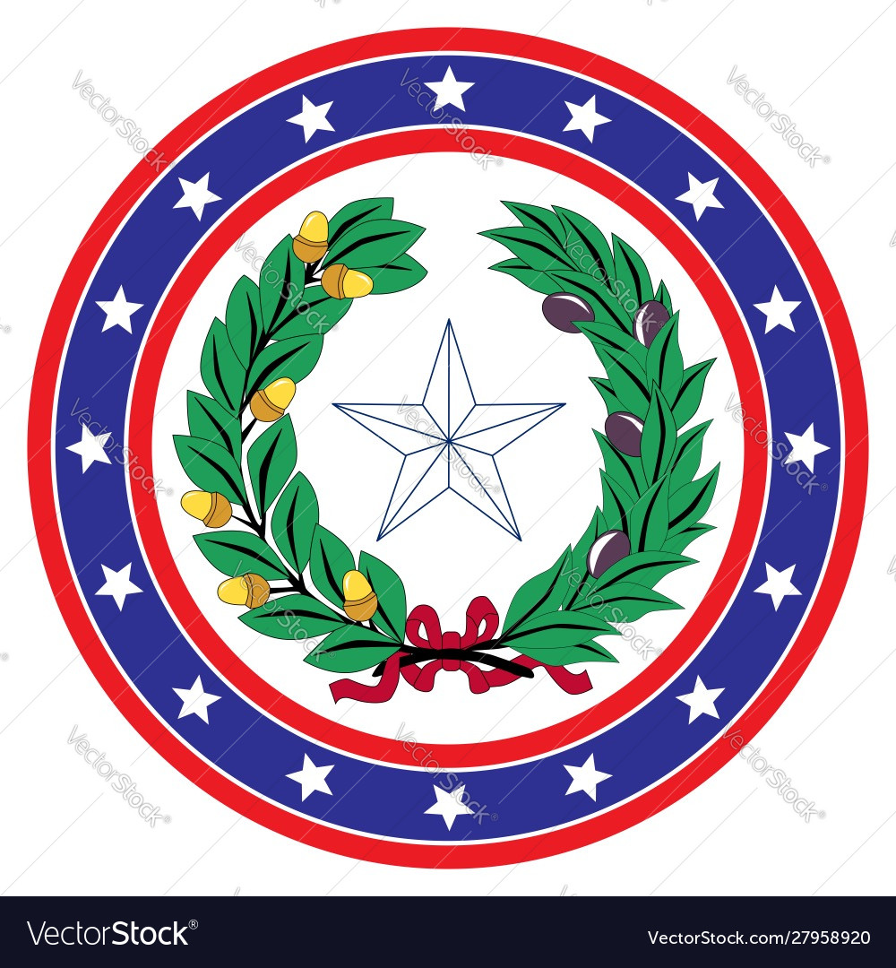 Star circle red white and blue texas background.