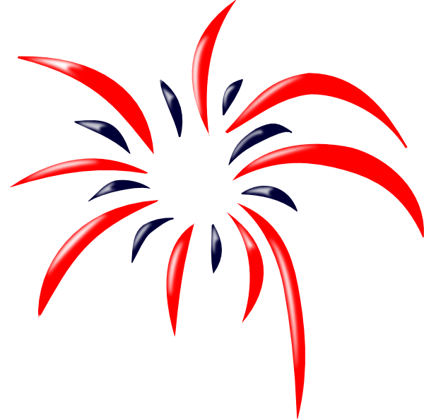 Red White and Blue Fireworks Clipart.