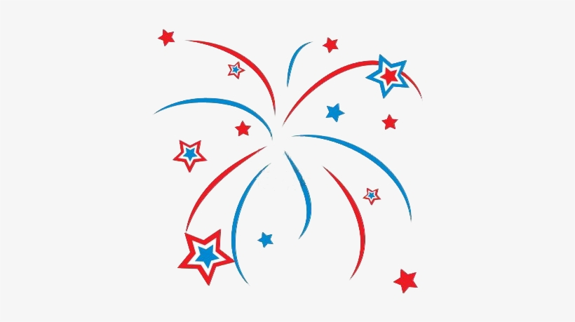 Red White And Blue Firework Clipart Transparent.