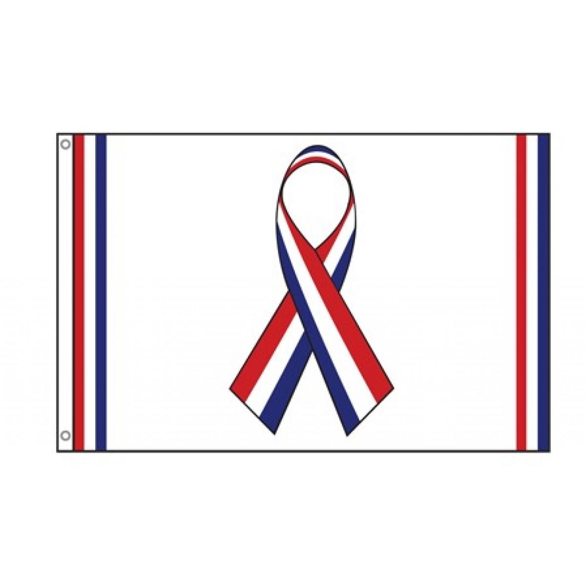 red, white & blue ribbon flag.