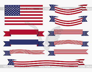 Red white blue american flag, ribbon and banner.