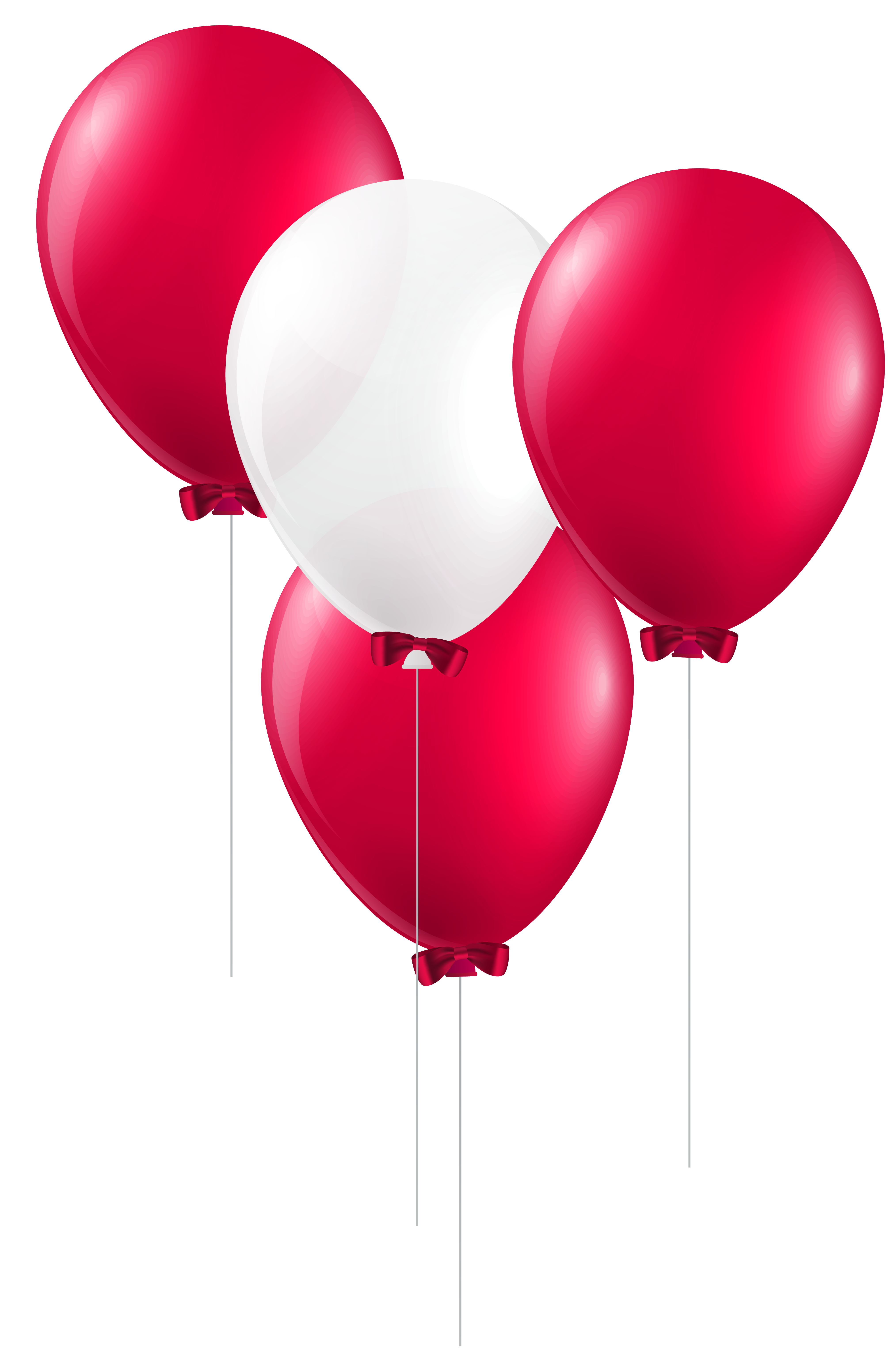 Red and White Balloons PNG Clip Art Image.