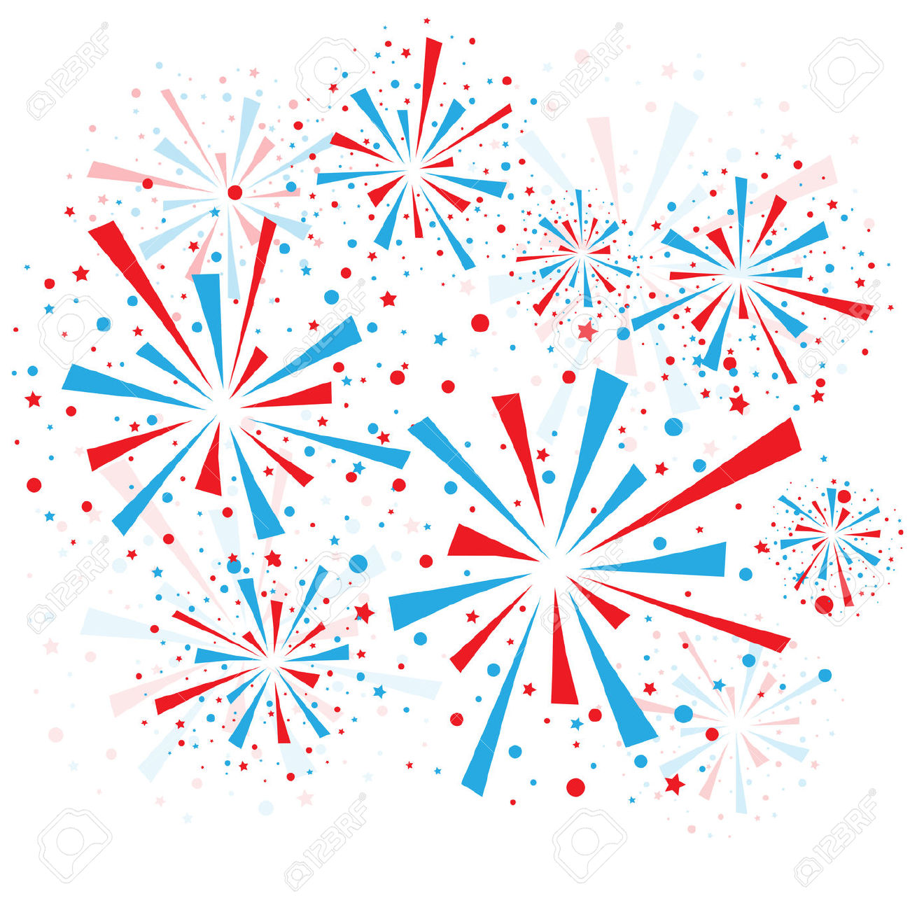 red white and blue firework clipart #19