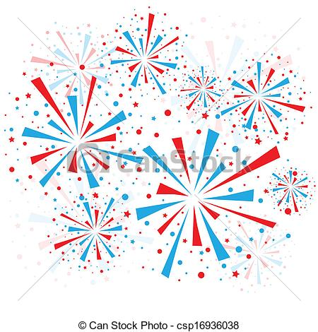 Red white and blue fireworks clipart free.