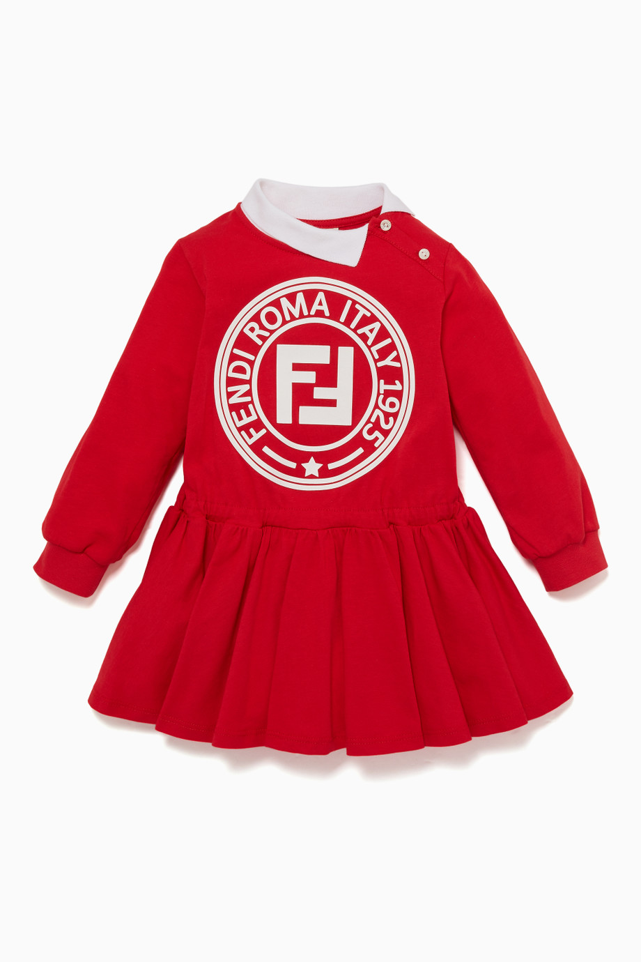 Shop Fendi Red Red & White Logo Jersey Dress for Kids.