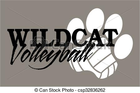 Clip Art Vector of wildcat volleyball team design with paw print.