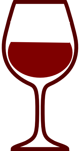 Glass of red wine clipart.