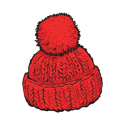 Bright red winter knitted hat with pompon Clipart Image.