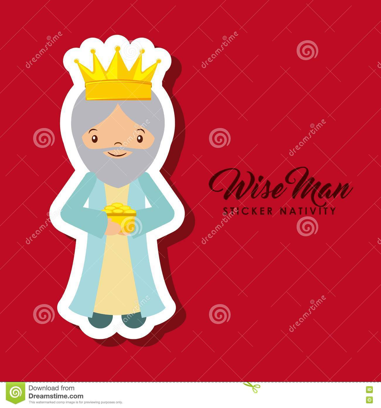 Wise Man Sticker Nativity Stock Vector.