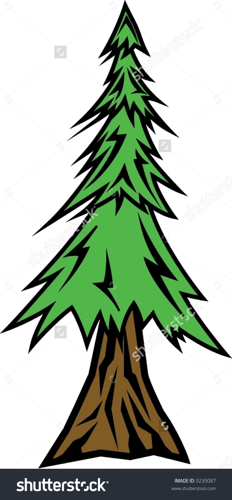 Redwood Tree Vector Art Free.