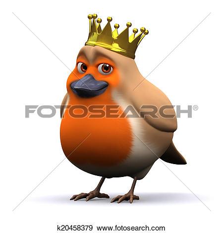Stock Illustration of 3d King robin red breast k20458379.