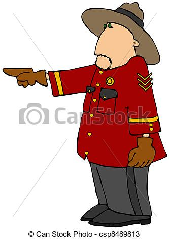 Drawings of Police Officer In Red Coat And Hat.