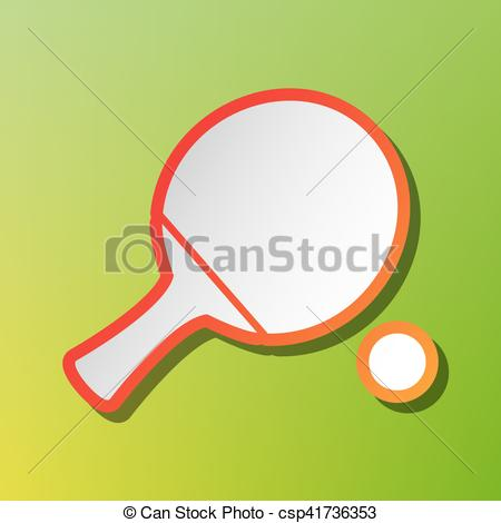 Clipart Vector of Ping pong paddle with ball. Contrast icon with.