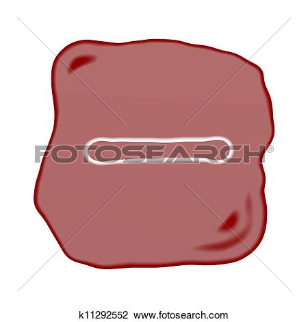 Clip Art of A Reddish Brown Stone of Minus Sign k11292552.