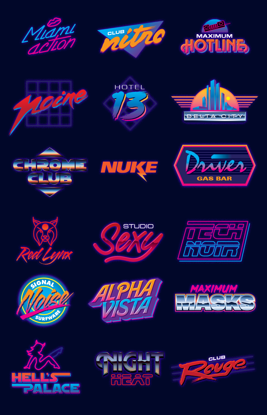 Neon logo designs : outrun.