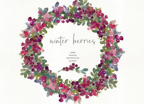 Watercolor Winter Berry Clipart.