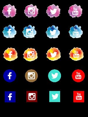 Ícones das redes sociais em png.
