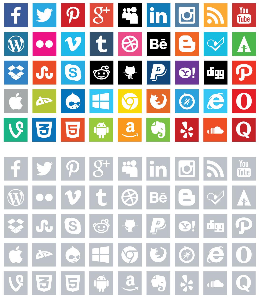 15 Packs de iconos para añadir redes sociales en tu web.