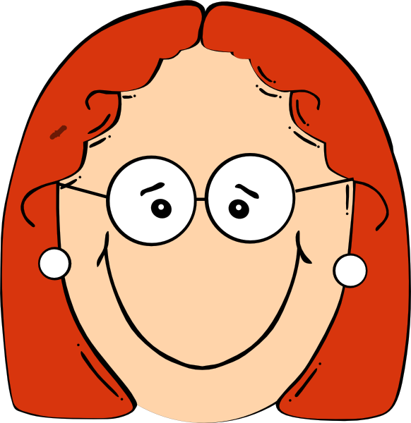 Happy Red Head Girl With Glasses Clip Art at Clker.com.