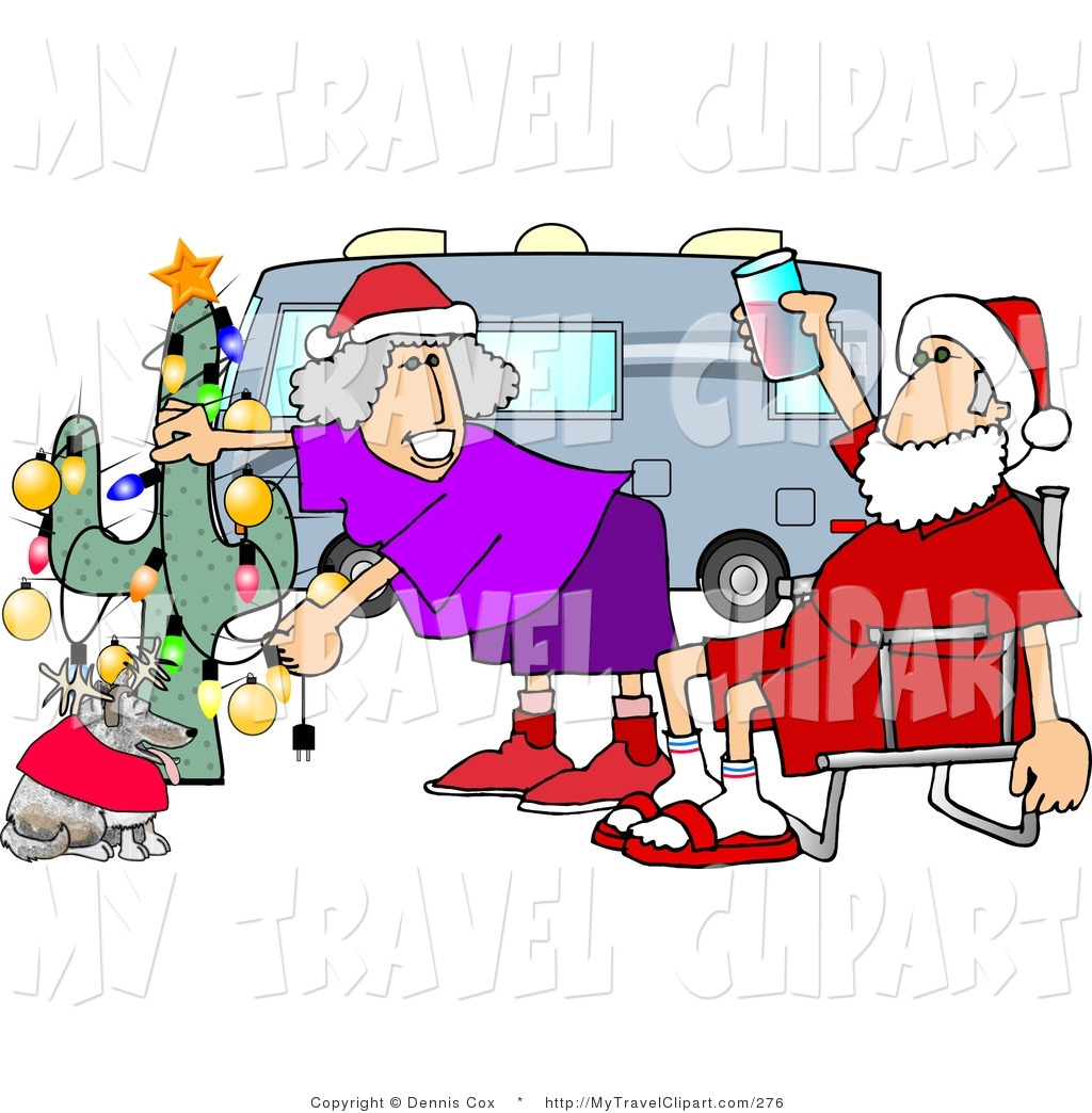 Clipart of a Redneck Mr. and Mrs. Santa Claus Celebrating.