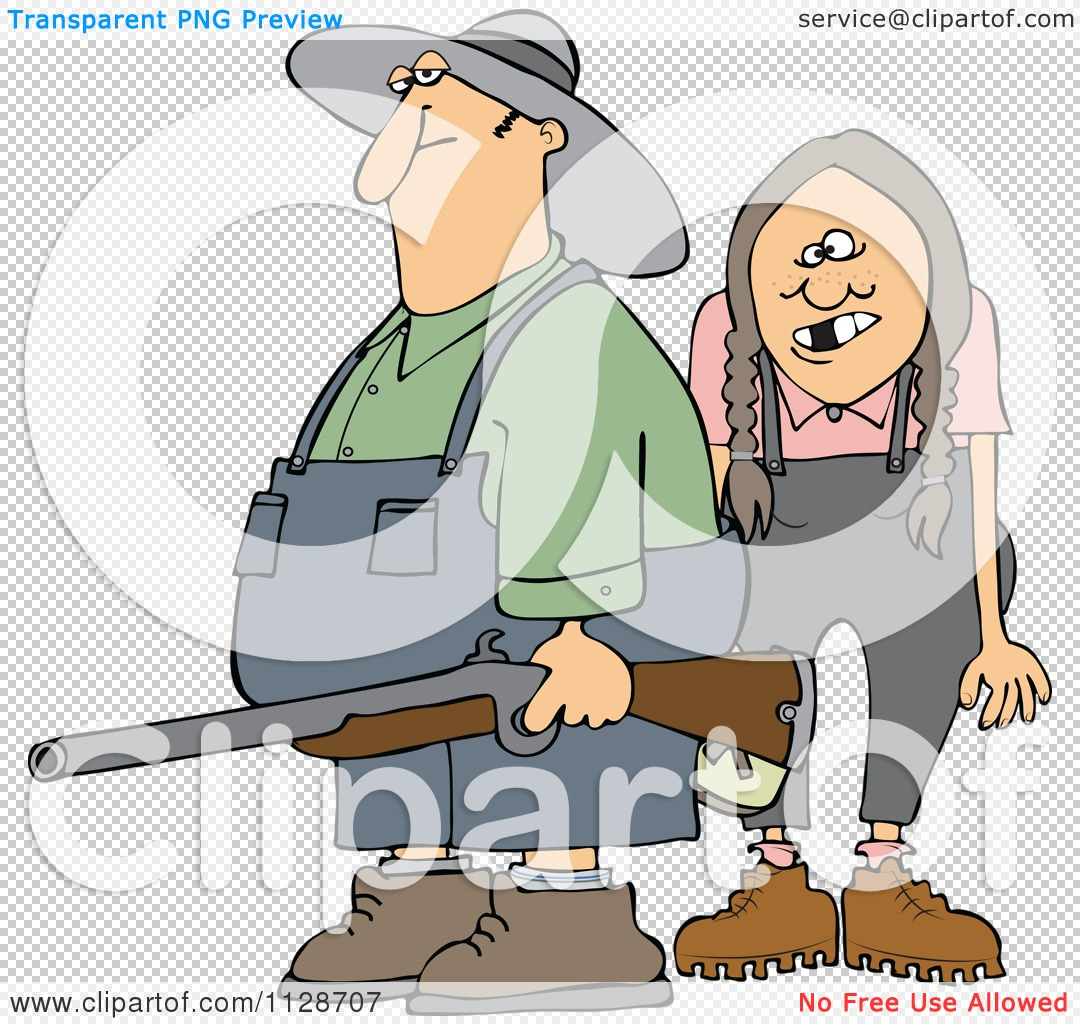 Cartoon Of A Redneck Hillbilly Man And Woman With A Shotgun.