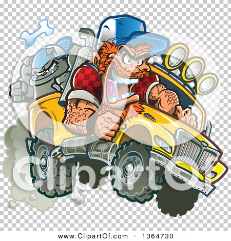 Clipart of a Cartoon Crazy Red Haired White Redneck Man Driving a.