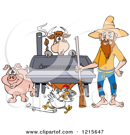 Clipart of a Hillbilly Couple by a Bbq Smoker with a Cow Chicken.