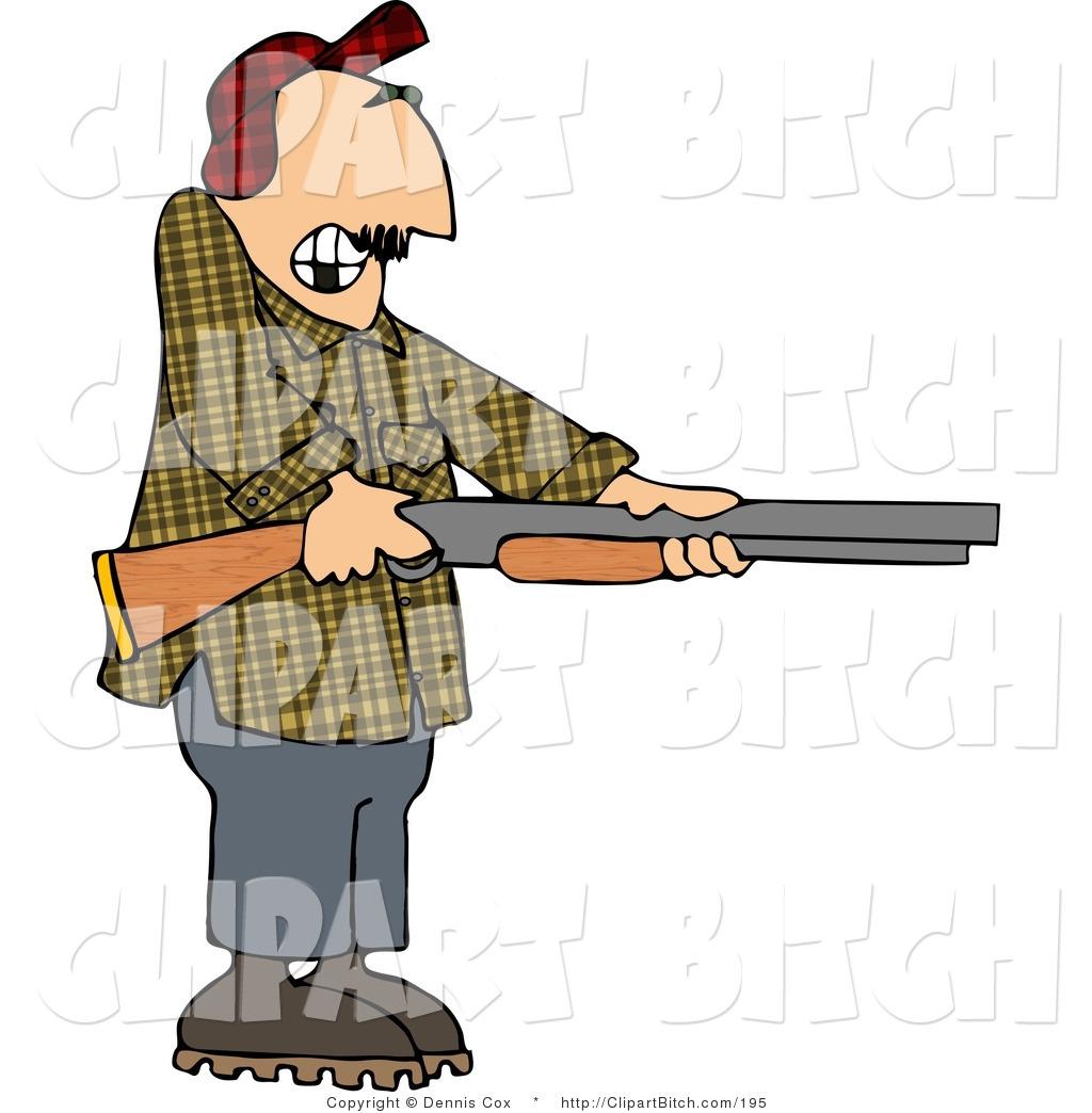 Clip Art of a Drunk Redneck Man Pointing a Shotgun by Dennis Cox.