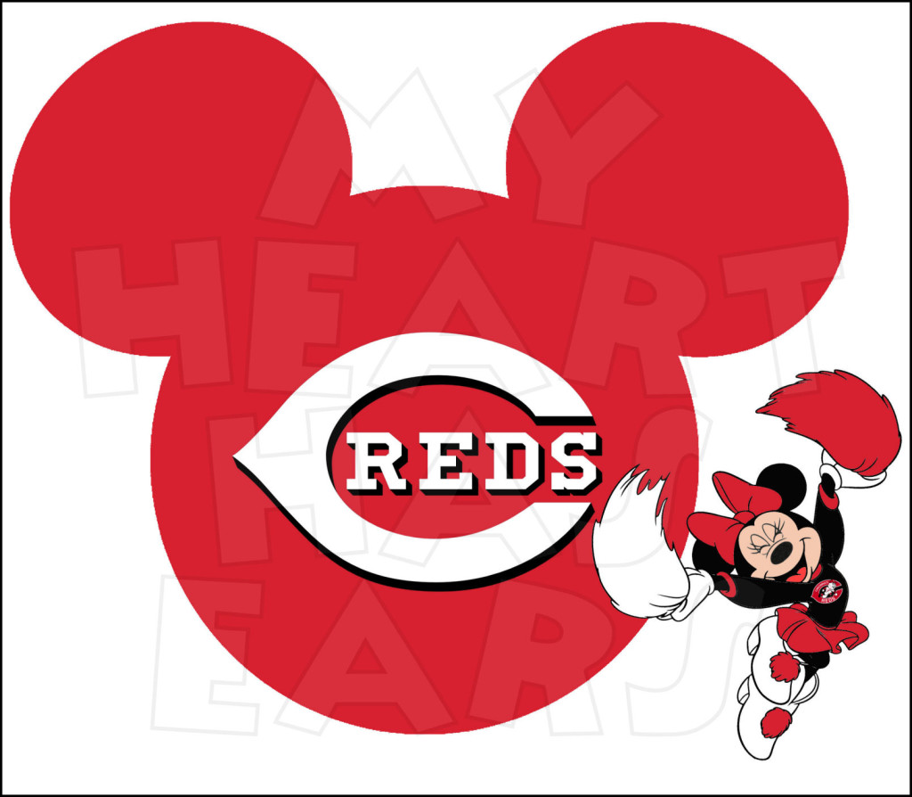 Cincinnati Reds with Minnie Mouse INSTANT DOWNLOAD digital clip.