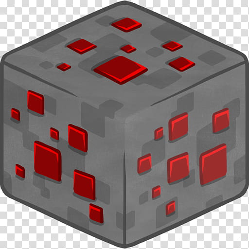MineCraft Icon , D Redstone Ore, gray and red cube.