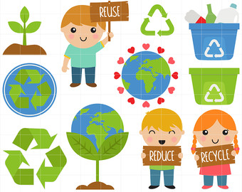 Reduce reuse recycle earth clipart.