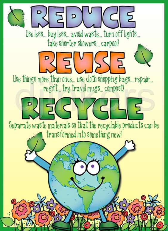 Reduce, Reuse, Recycle poster! Made using clip art from DJ Inker's.
