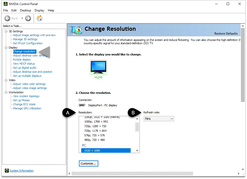 Change the Resolution and Refresh Rate in Shadow.