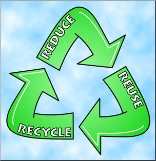 Clip Art: Reduce, Reuse, Recycle Logo 1 Color 1 I abcteach.