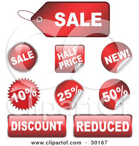 Clipart Illustration of a Set Of 9 Red Sale, Half Price, New.