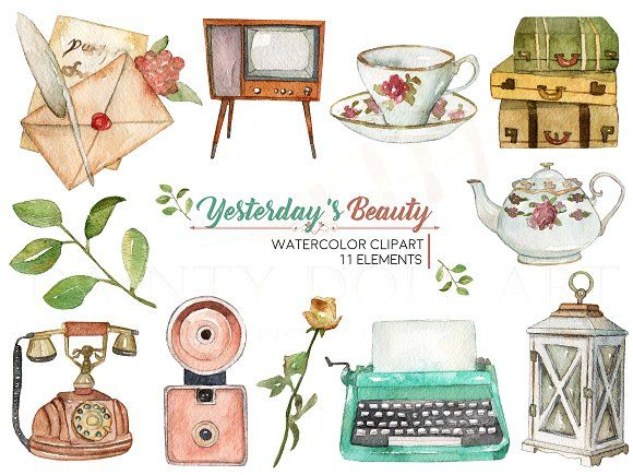 Vintage Watercolor Clipart by Dainty Doll Art on.