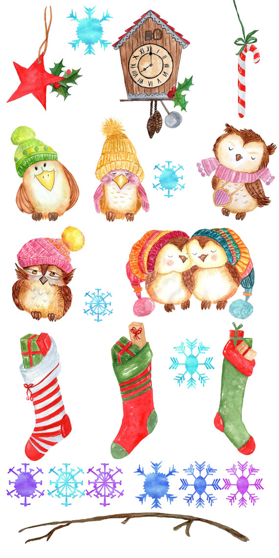 Watercolor Christmas clipart: \