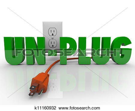 Clip Art of Unplug Cord Electrical Outlet Electricity Power.